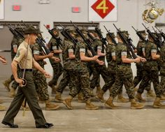 Staff Sgt. Lucas Padilla, a senior drill instructor with Delta Company, 1st Recruit Training Battalion, marches his platoon during Final Drill aboard U.S. Marine Corps Recruit Depot Parris Island.