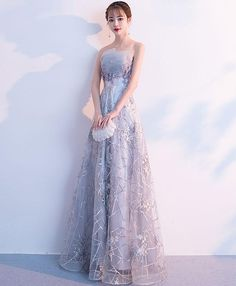 Description Gray tulle lace long prom dress, gray tulle evening dress, pictures of this product are pictures of the real object. Cheap Prom Dresses Online, Prom Dresses Under 100, Prom Dresses 2018, Ball Gown Dresses, Evening Dresses, Beautiful Prom Dresses, Elegant Dresses, Pretty Dresses, Princess Ball Gowns