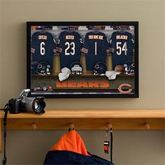 This is such a great gift idea for any Chicago Bears Fan! They can have their name and favorite number personalized on a jersey right next to all the greats on this piece of Canvas Art for only $59.95! #Bears #Chicago #PersonalizedJersey #Canvas #Home #Bar #FathersDay #Football #NFL #ProductsILove #PMall
