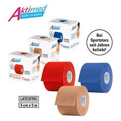 Aktimed Tape CLASSIC - Physio-Tapes für kinesiologisches Taping | Kinesiologisches Tape | Hochelastisch | Atmungsaktiv & hautfreundlich |Latexfrei | 5 cm x 5 m Physio Tape, Freundlich, Invitations, Sport, Feelings, Fitness, Gifts, Free, Top