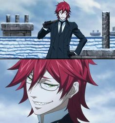 Black Butler young Grell Sutcliff with short hair