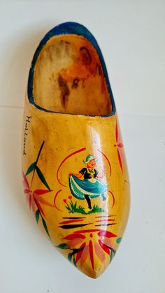 Vintage Wooden Shoe Hand Painted from Souvenir from by awesome80s