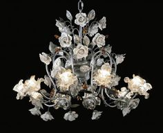 Chandelier in ceramic with Swarovski and Murano glass Murano Glass, Luxury Furniture, Swarovski, Ceiling Lights, Ceramics, Create, Chandeliers, How To Make, Home Decor