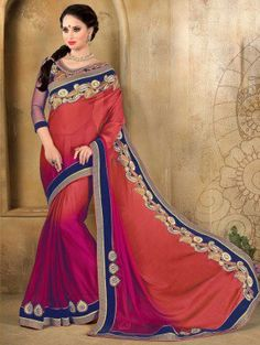Red and Pink Silk Saree with Resham Embroidery Work