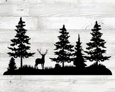 Forest Silhouette, Wolf Silhouette, Mountain Silhouette, Silhouette Tattoos, Wolf Clipart, Tree Clipart, Tree Svg, Pine Forest, Forest Mountain
