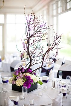 pretty wedding centerpiece    purple and white with natural branches     wedding tablescape, floral design, flowers  #wedding  Zelo Photography via CeremonyBlog.com (8)
