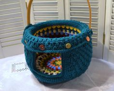 Crochet Cat Cave Pet Bed Upcycled Wicker Basket от LittlestSister