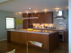 Wood cabinets, wood floors