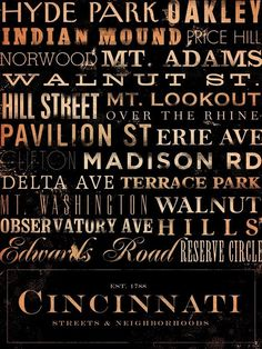 Love this! Cincinnati artwork $179.00...love that it's basically just the near-east side of town lol