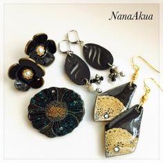 黒プラバン試作4種全て #shrinkplastic #earrings #brooch #accessories #shrinkydinks #プラバン #プラ板 #黒プラバン