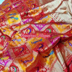 Katan silk saree For order email-shagunfrombanaras@gmail.com or whatsapp 9389902966 Banarasi Sarees, Silk Sarees, Indian Bridal Sarees, Saree Border, Indian Wear, Blouse Designs, Hand Weaving, Blouses, Pure Products
