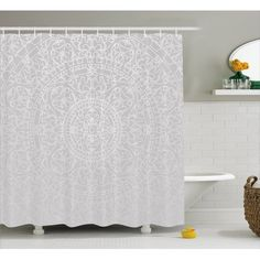 East Urban Home Lace Victorian Damask Antique Baroque Design with Oriental Effects Renaissance Art Shower Curtain Set Size: H x W Gray Shower Curtains, Shower Curtain Sizes, Bathroom Decor Sets, Design Bathroom, Rococo Style, Moroccan Decor, Moroccan Bathroom, Urban, Decoration
