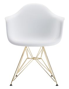 The wing back design paired with pretty gold legs of this chair make it a stunnner.