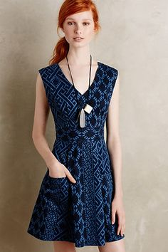 Anthropologie EU Diamond Denim Dress