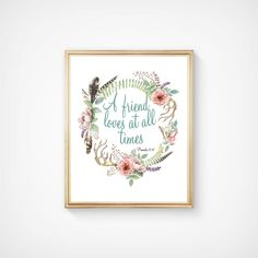 Bible Scripture Verse Print A Friend Loves At All Times   Etsy Scripture Verses, Bible Scriptures, Good Luck Pictures, Christian Christmas Gift, Proverbs 17 17, A Child Is Born, Christian Wall Art, Types Of Printer, Christmas Signs