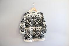 Handmade Boho Sweater Black and White Ethnic Pattern by Amilialia