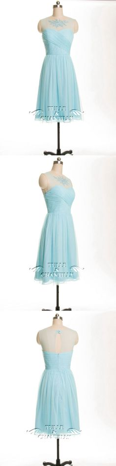 pale blue lace and tulle bridesmaid dress trends 2015 #bridesmaiddresses