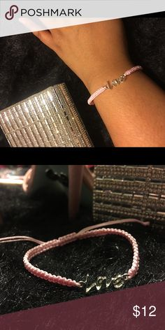 """True Love"" Bracelet Product Detail:  Adjustable pink rope bracelet with love engraved    Buy with Confidence!!!!! I am a 100% positive rated seller • Ships within 2 days • Make an offer or Bundle to Save Jewelry Bracelets"