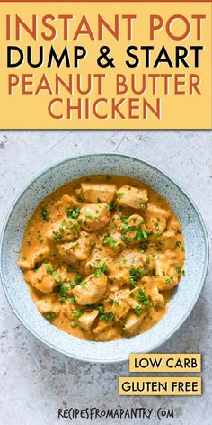 Dump and Start Instant Pot African Cinnamon Peanut Butter Chicken is a warm, fragrant and oh-so-comforting dish. If you like peanuts and chicken, you will absolutely love the traditional African flavour combinations in this quick and easy recipe. Click through to get this awesome recipe!! #instantpot #instantpotrecipes #pressurecooker #pressurecookerrecipes #instantpotpeanutbutterchicken #instantpotchickenrecipes #glutenfree  #peanutbutterchicken #peanutchicken #peanutsauce #chickenrecipes
