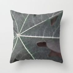 Pillow Cover Papaya Plant Leaf Black Monochromatic by NatureCity, $40.00