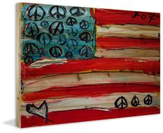 Marmont Hill Peace Flag - on Natural Pine Wood Fine art print on natural pine wo
