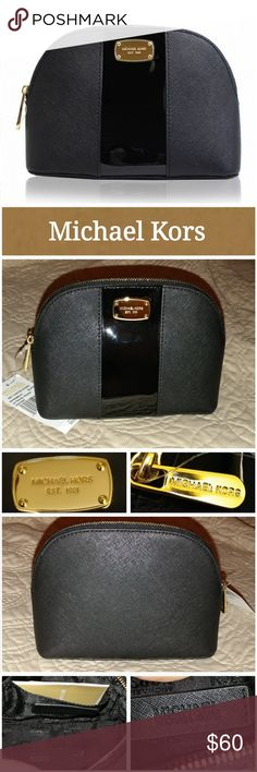 NWT LG Travel Pouch Black Leather?  Black Patent Leather center stripe?  Zip Closure?  Michael Kors logo plaque on front  Gold Tone Hardware?  MK Signature fabric lining in black  One slip pocket inside  Excellent condition.  Never used.  Smoke free home. LOC CL1B6 Michael Kors Bags Cosmetic Bags & Cases