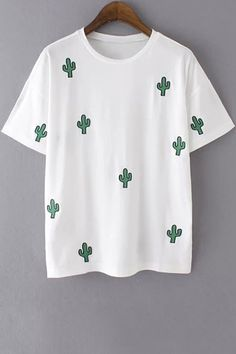 Embroidery Round Collar Short Sleeve T-Shirt