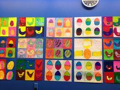 Verdeel het tekenblad in zes gelijke vlakken en teken een voorwerp met een sjabloon. Kleur het vervolgens in met verschillende kleuren.