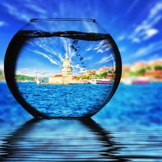 Maidens Tower captured - @Müge Çelikörs #tower #blue #water