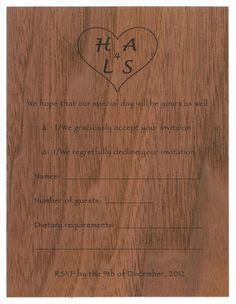 Create a custom reply card for your wedding Invitation Suite, Invitations, Thing 1, Price Quote, Wood Veneer, Wood Design, Special Day, Rsvp, Card Making