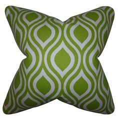 Poplar Chartreuse 18 x 18 Geometric Throw Pillow