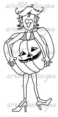 $3.00 Lori Halloween Diva Digital Stamp  (http://buyscribblesdesigns.blogspot.ca/2012/10/122-lori-halloween-diva-300.html) digital stamps, digis, scribbles designs, Halloween, pumpkin, Diva, costume