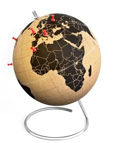High quality cork grown, processed and manufactured in portugal. Ocean / Sky Color: Black and cork. Product Type: Tabletop or Desk Globe. Overall Height - Top to Bottom: Size Large. Best Travel Gifts, Best Gifts, World Map Travel, Globe Travel, Design3000, World Globes, Deco Originale, All Modern, Decorative Pillows