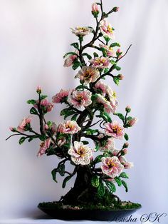 Creative Floral Compositions by Oksana Konovalova. These creations are just amazing! Just gorgeous. French Beaded Flowers, Wire Flowers, Fruit Flowers, Crochet Flowers, Pearl Crafts, Beaded Crafts, Wire Crafts, Wire Tree Sculpture, Bonsai Art
