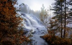 Download wallpapers autumn, waterfall, river, mountains, forest, USA