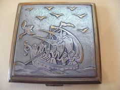 """Compact Signed EVANS Logo Metal Relief Detail Sail Boat Sea Gulls 2 3/4"""" Square"""