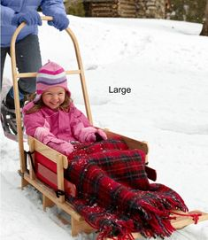Kids& Pull Sled and Cushion Set with Push Handle Snow Toys, 4th Of July Photos, Radio Flyer, Snow Fun, Ll Bean, Sled, Wooden Handles, Cool Kids, Baby Strollers