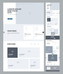 Find One Page Website Design Template Business stock images in HD and millions of other royalty-free stock photos, illustrations and vectors in the Shutterstock collection. Thousands of new, high-quality pictures added every day. Minimal Web Design, Design Web, Design Sites, Web Design Mobile, Flat Design, Modern Web Design, Business Web Design, Web Business, Website Design Inspiration