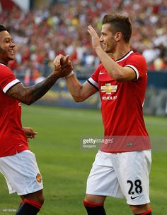 Morgan Schneiderlin of Manchester United celebrates after scoring a goal against Club America during the International Champions Cup at CenturyLink Field on July 2015 in Seattle, Washington. Centurylink Field, International Champions Cup, Club America, Manchester United, Scores, The Unit, Goals, Running, Celebrities