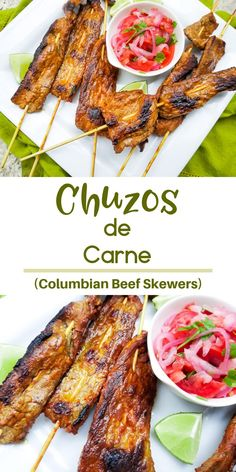 Chuzos de Carne or Chuzos de Res (Beef Kabobs) are a delicious Columbian food marinated in delicious Latin spices beer and garlic. This is a must make recipe! Mexican Food Recipes, Beef Recipes, Dinner Recipes, Cooking Recipes, Latin Food Recipes, Appetizer Recipes, Appetizers, Beef Kabob Marinade, Arroz Con Leche