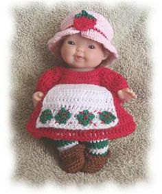 Ravelry: Strawberry Outfit for 5 Inch Berenguer Doll Clothes pattern by Amy Carrico
