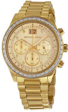 Michael Kors MK6187 Brinkley Chronograph Gold Dial Women's SS Watch