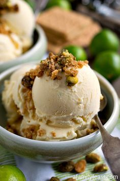 Key Lime Ice Cream with Graham Cracker Pistachio Crumb Topping - All the great flavors in a Key lime pie in ice cream form!