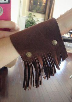 Fringe Tassel Wide Leather Cuff Bracelet Boho by ThreeBirdNest