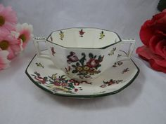 "Vintage Royal Doulton English Bone China ""Old Leeds Spray"" Footed Cream Soup Bouillon Bowl and Saucer"