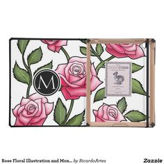 Rose Floral Illustration and Monogram Cover For iPad