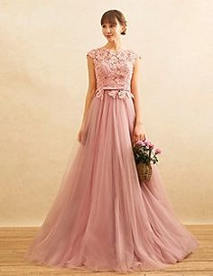 Formal+Evening+Dress+A-line+Jewel+Sweep+/+Brush+Train+Lace+/+Tulle+with+Beading+–+GBP+£+303.40