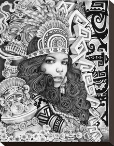 Aztec Girl by Mouse Lopez Lowbrow Artwork Canvas Art Print – moodswingsonthenet Stretched Canvas Prints, Canvas Art Prints, Payasa Tattoo, Zentangle, Arte Lowrider, Lowrider Tattoo, Aztec Drawing, Prison Art, Aztec Warrior