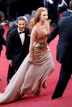 """Jessica Chastain (and Shia LaBeouf) at the """"Lawless"""" premiere at the Annual Cannes Film Festival. Jessica Chastain, Blake Lively, Roux Auburn, Monique Lhuillier, Zuhair Murad, Christian Dior, Versace, Saab, Valentino"""