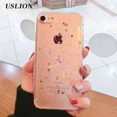 1.29$  Watch now - USLION Phone Cases For iPhone 7 Shinning Glitter Star Case Bling Love Heart Soft TPU Back Cover Capa Coque For iPhone7 6 6s Plus   #buyonline